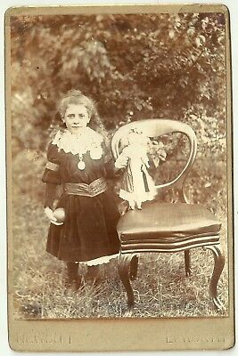 Victorian cabinet photo  Girl long hair & Doll Epworth   photographer