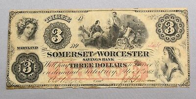 1862 Somerset and Worcester Savings Bank THREE 3 DOLLAR NOTE ~ OBSOLETE CURRENCY