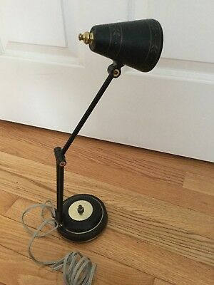 Black & Gold Pivot Adjustable Vintage Mid Century Tole Desk Table Lamp