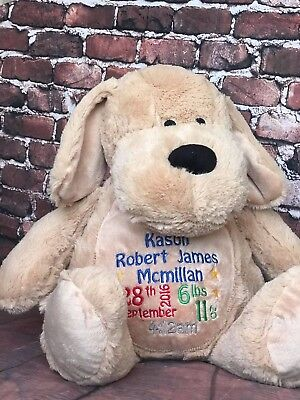 Personalised Embroidered Mumble Zippie Soft Teddy Bear Baby Memory Birth Gift