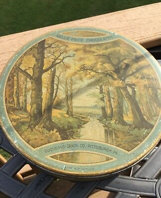 Vintage Tin Can Nellie Price Candy Pittsburgh 1940s Forest Stream Heekin Can GUC