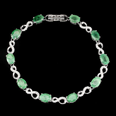 Gorgeous Oval Cut 7x5mm Top Rich Green Emerald Cz 925 Sterling Silver Bracelet