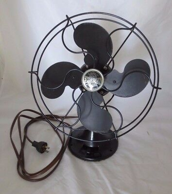 """Vintage 10"""" Emerson #2250B 1Speed,oscillating Fan With Original Shipping Box"""