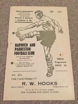 Harwich & Parkeston V Colchester United Res 1956/7 Eastern Counties Lge  29/8/56