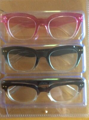 26f4776c52d5 NEW Steve Madden 3 PAIRS Readers Reading Glasses Black/Pink/Brown OMBRE +2.0