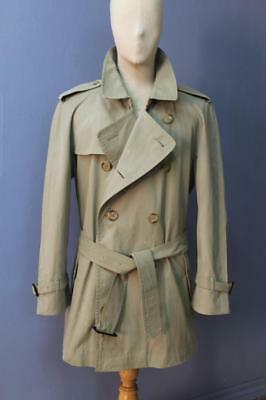 Mens BURBERRY Double Breasted Short TRENCH Coat Mac Olive Size 42/44