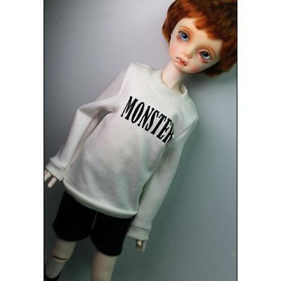 White Pullover Top Round Neck Sweatshirt for 1/4 BJD SD DOD Dolls Accessory