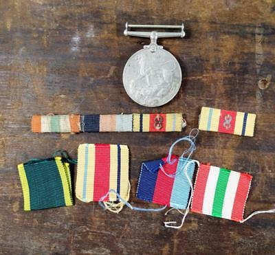BRITISH WWII 1939-45 MEDAL, RIBBONS AND BARS INCLUDING ORIGINAL 8th ARMY CLASPS