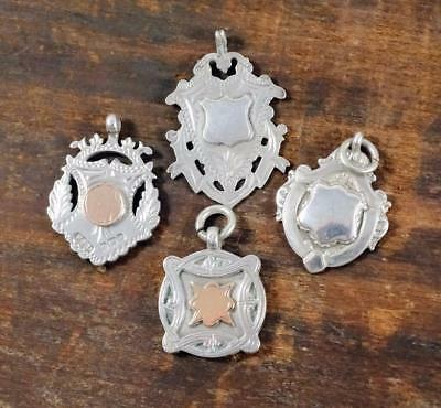 4x ANTIQUE STERLING SILVER WATCH FOBS - GILT, EMBOSSED, ENGRAVED