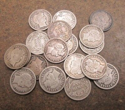 18 Different Barber Silver Dimes VG to Fine Condition No Reserve