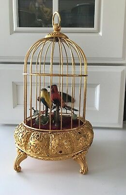 Antique German/French Musical Automaton Bird Cage*Gold Gilted W/Gems*Not Working
