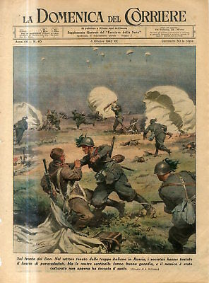 1942 WW2 Russian front Don river.Russian paratroopers attacked by Italians Print