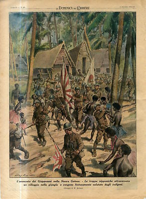 1942 WW2 War with Japan The advance of Japanese in New Guinea in Jungle Print