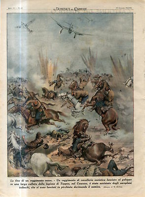 1942 WW2 Russia Caucasus Tuapse Soviet cavalry regiment attacked by Nazi planes