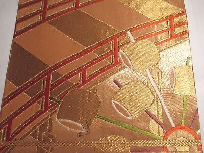 """QQ Bridge and Drums Shimmering Embroidery Japan Obi Silk Fabric 21""""L 8511"""