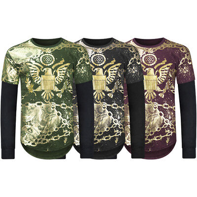 NEW Men Bald Eagle Long Sleeve Gold Foil Chain USA American SIZES S-2XL