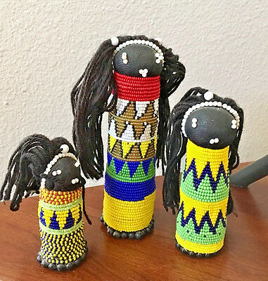 Lot Of Three ~ Beaded African Dolls ~ Mother & Daughters