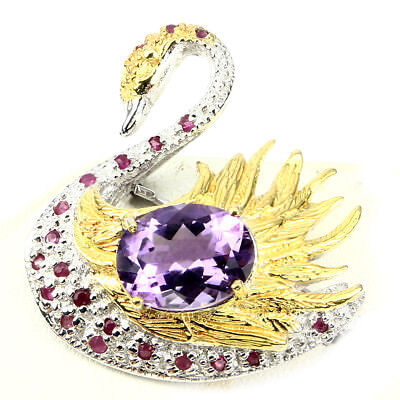 Awesome 13x10 Mm Purple Amethyst Ruby Sapphire 925 Sterling Silver Swan Brooch