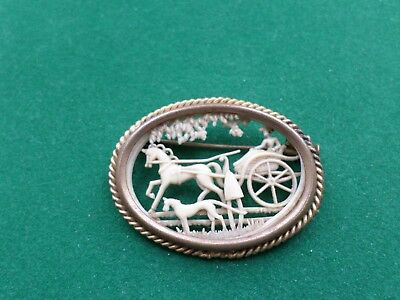 Depose France Brooch( Pony & Trap Scene )