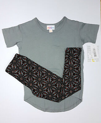 LuLaRoe Unisex Outfit Gracie Tee Size 2 Toddler Solid Gray With S/M Leggings