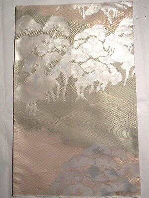 """Neat Iridescent Forest Like White Clouds Style Japan Obi Silk Fabric 19""""L 8491"""
