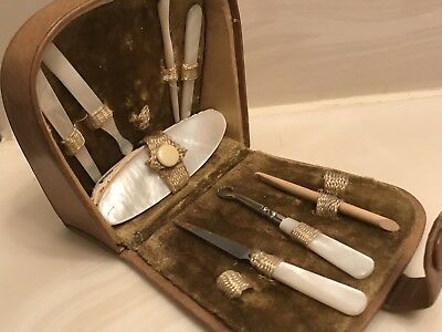Antique Sewing Kit Mother of Pearl Brown velvet Tools Manicure Etui 1900