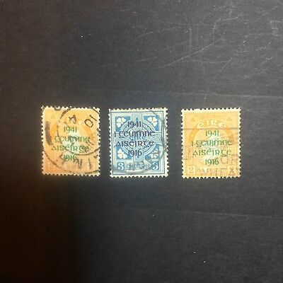 STAMPS. IRELAND 1941 2d ORANGE X 2/3d BLUE X 1 OPT 1941-1916. ALL USED HINGED.