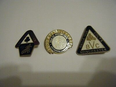 3  Belle Vue  /colts   Enamel Speedway Badges -   Vgc       Reeves Badges