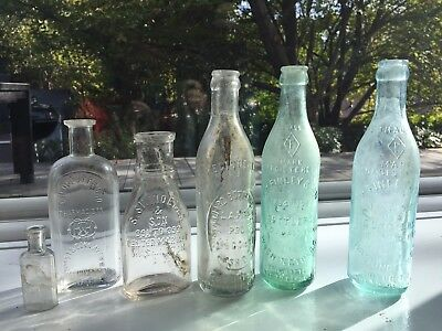 5 circa 1900 glass bottles WASHINGTON D.C. BUSINESSES
