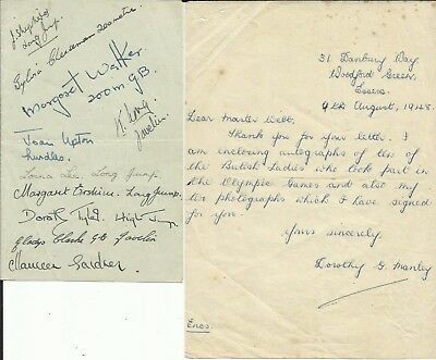 1948 LONDON OLYMPICS: Ladies British Team, page ORIGINALLY SIGNED by ELEVEN!