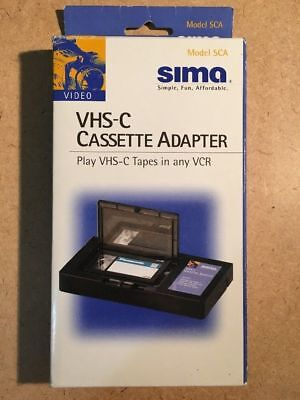 SIMA Vintage VHS-C CASSETTE ADAPTER MODEL SCA- PLAYS VHS-C TAPES IN ANY VCR