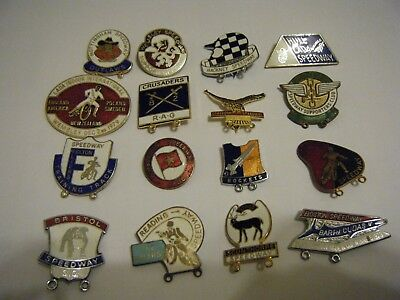 16  Various   Enamel Speedway Badges -   Vgc   Bristol-Felton-Hull-Crusaders