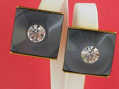 Large runway vintage earrings rhinestone clip on - excellent quality
