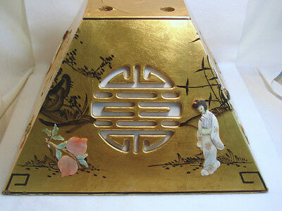 Vintage Gold LACQUER Lampshade GEISHA Mother of PEARL FLOWERS Large UNUSUAL