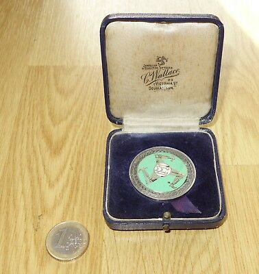 1950 MMCC Manx MotorCycle Club MGP SILVER Finishers medal & Box Isle of Man TT
