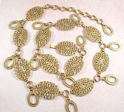 Vintage ornate gold tone metal filigree panel chain belt