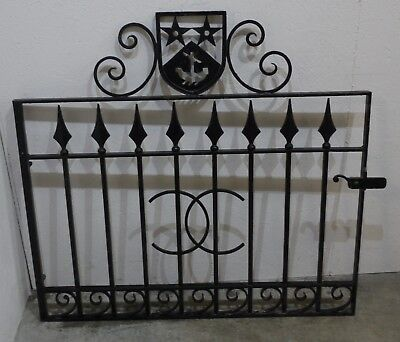 Impressive Reclaimed Crested Wrought Iron Pedestrian Gate - Heavy! (222)