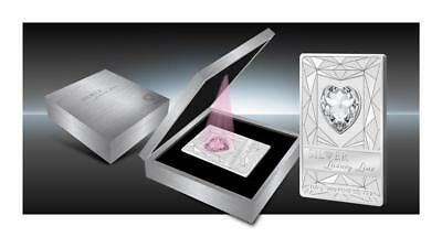 Cook 2014 $20 Silver Luxury Line III Pink 100g Silver Proof Coin Swarovski Heart