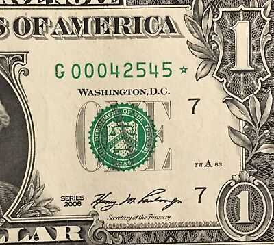 $1 2006 G* STAR ⭐️ NOTE Fancy Low Serial Number Choice Unc Condition
