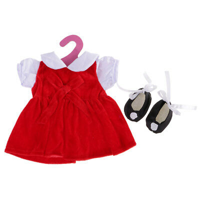 18inch Doll Clothes Set Red Dress & Black Dance Shoes for AG American Doll