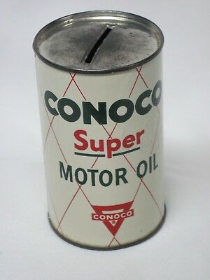 """Vintage """"75 Years"""" Conoco Super Motor Oil Coin Bank, Continental Oil Company"""