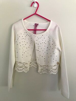 Material Girl White Cardigan with lace trim and gold studs - Size 7