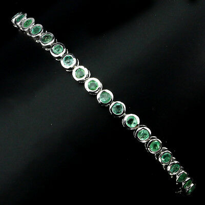 Gorgeous Round Cut 2.5 Mm Top Rich Green Emerald 925 Sterling Silver Bracelet