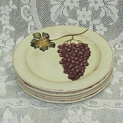 """Tabletops Unlimited 4 Villa Grande Salad Cake Plate 8 3/4"""" Hand Painted Grapes"""