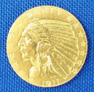 1911-p U.S. $5 Gold Indian cleaned   L824