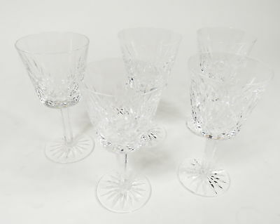 """Set Of 5 Waterford Crystal Lismore Pattern Clear 5 7/8"""" Tall Wine Claret Glasses"""