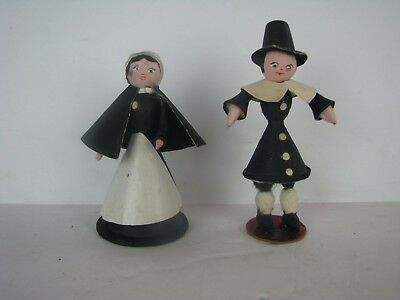 Rare Germany Paper Mache Cardboard Pilgrims Thanksgiving