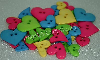 20 FUNKY HEART Novelty Buttons Mixed Sizes - Great for Craft & Sewing Projects