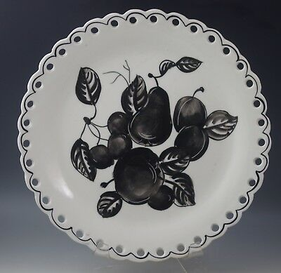 Vtg  Italy Ceramic Black And White Fruits Pierced Large Plate 11""