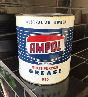 Ampol Dark Blue 5lb Pound Grease Tin MINT
